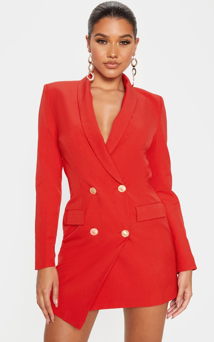 Red Gold Button Blazer Dress by Prettylittlething