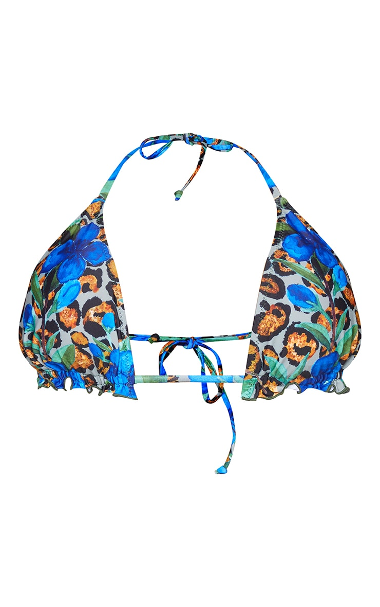 Blue Floral Animal Frill Edge Padded Bikini Top 5