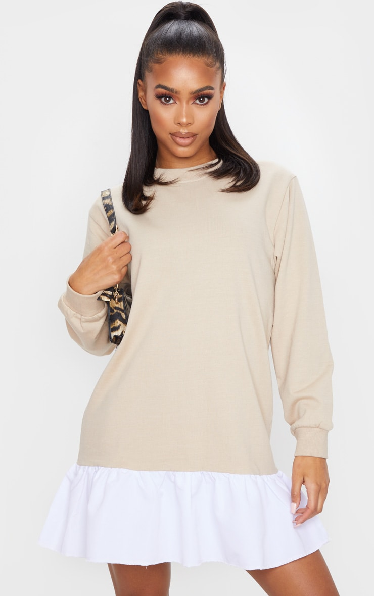 Stone Sweater Dress With Poplin Frill 3