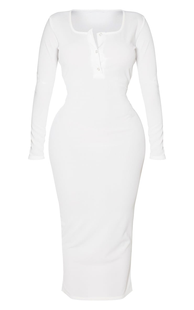 Shape Cream Ribbed Button Front Long Sleeve Midaxi Dress 3