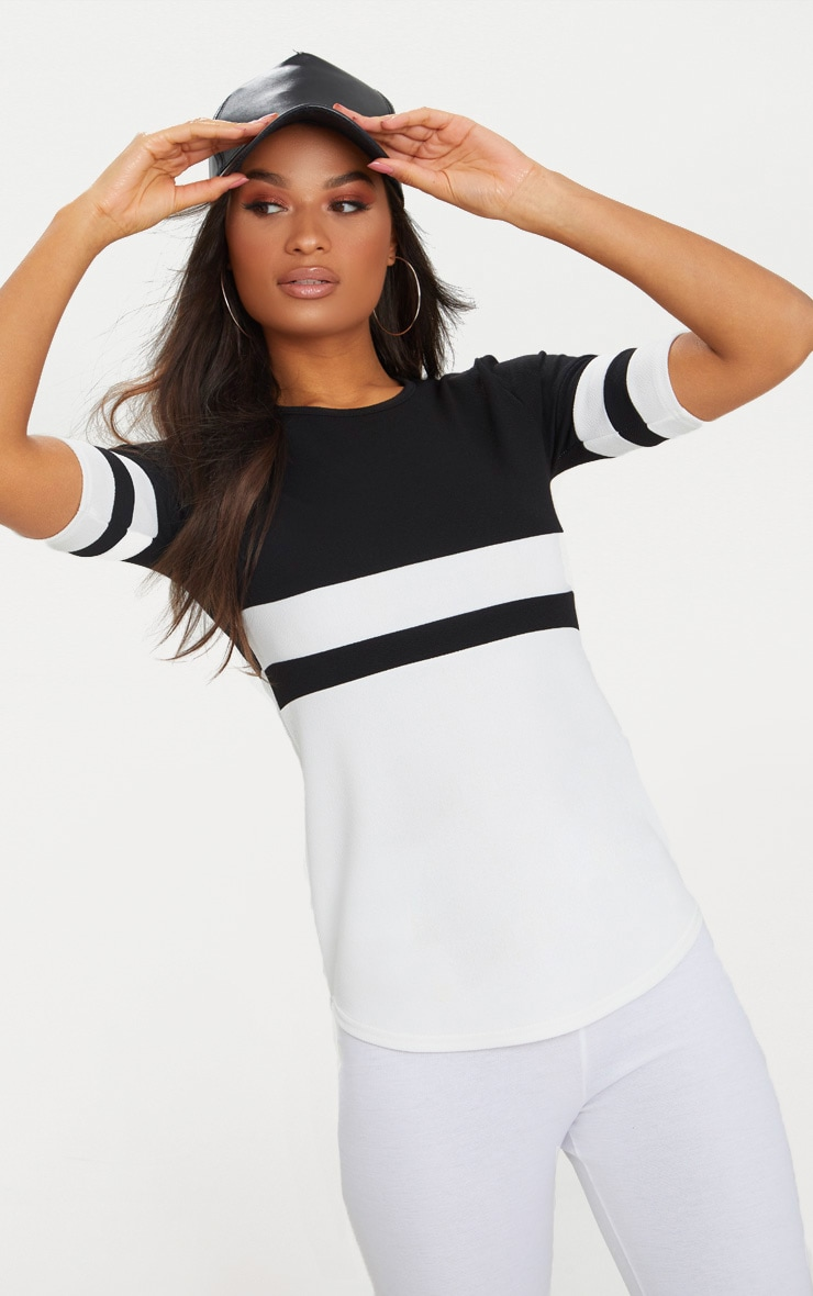 Monochrome Sports Stripe T Shirt  1