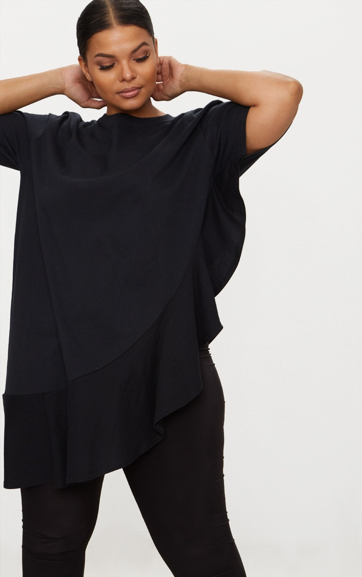 Plus Black Frill Detail Oversized T-Shirt 4