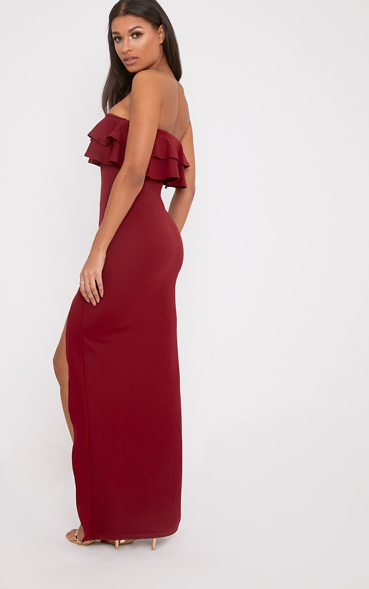 Angelique Burgundy Frill Bandeau Maxi Dress 2