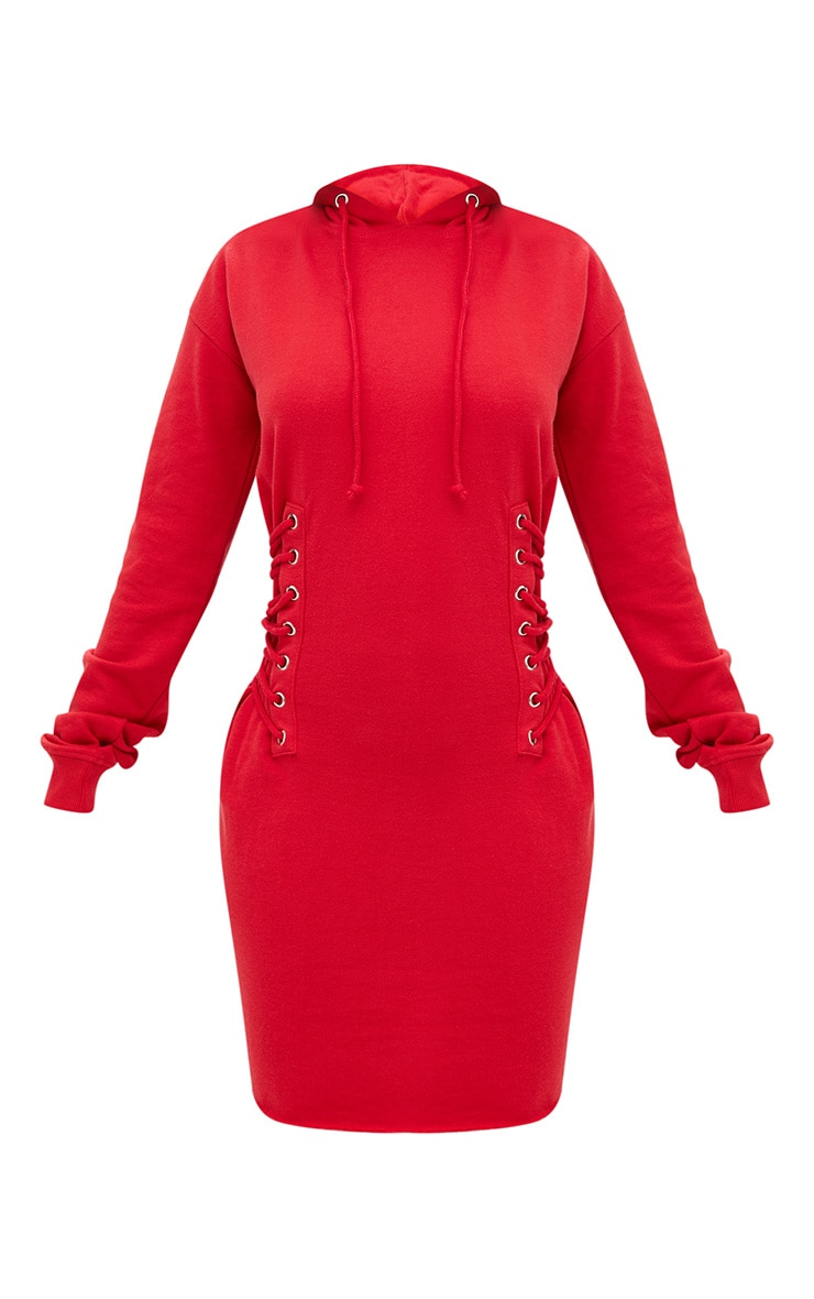 Shape Red Hooded Lace Up Side Sweater Dress 3