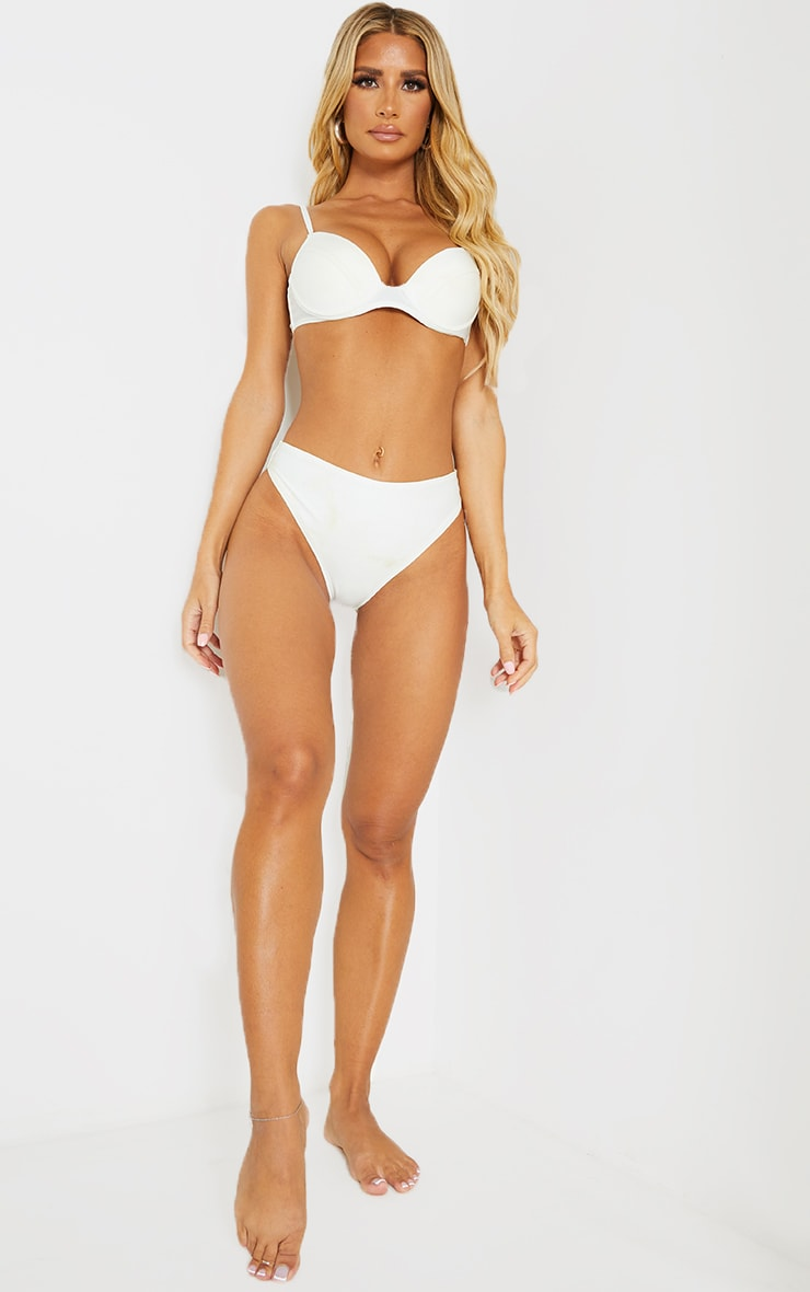 White Mix & Match Recycled Fabric Cheeky Bum Bikini Bottom 3