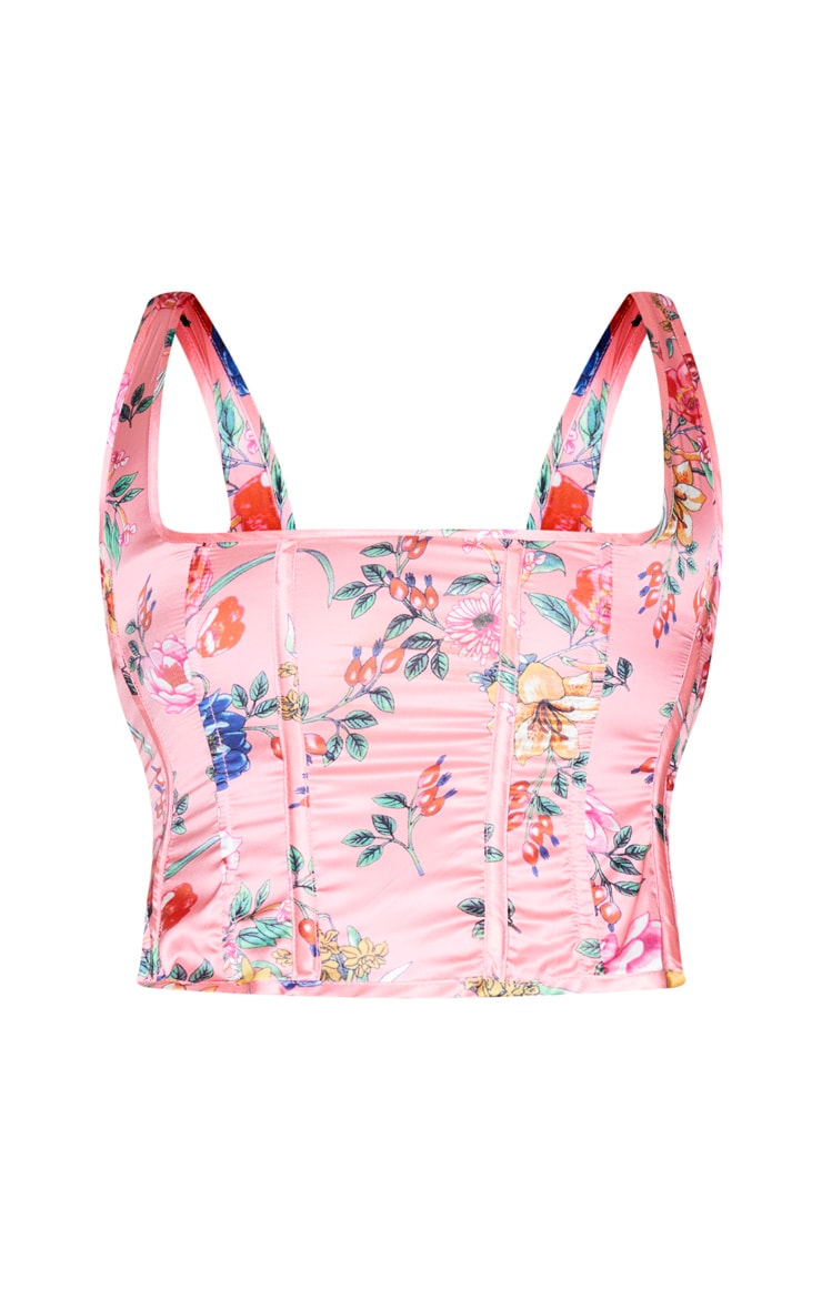 Plus Pink Floral Print Corset Crop Top 5