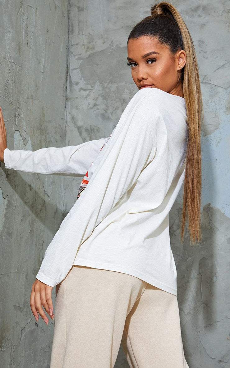 Cream Dallas Printed Stone Washed Long Sleeve T Shirt 2