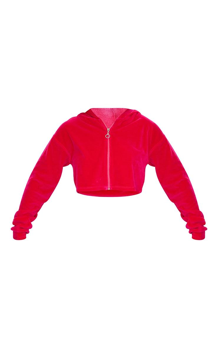 Bright Pink Velour Zip Through Cropped Hoodie 5