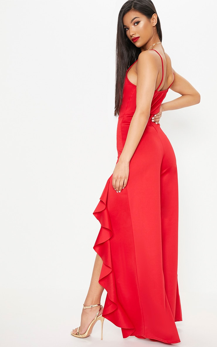 Red Ruffle Front Wide Leg Jumpsuit 2