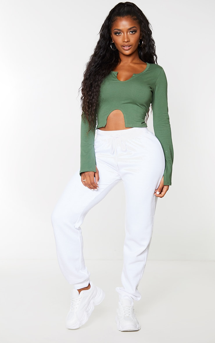Shape Khaki Cotton Split Detail Cut Out Long Sleeve Top 1