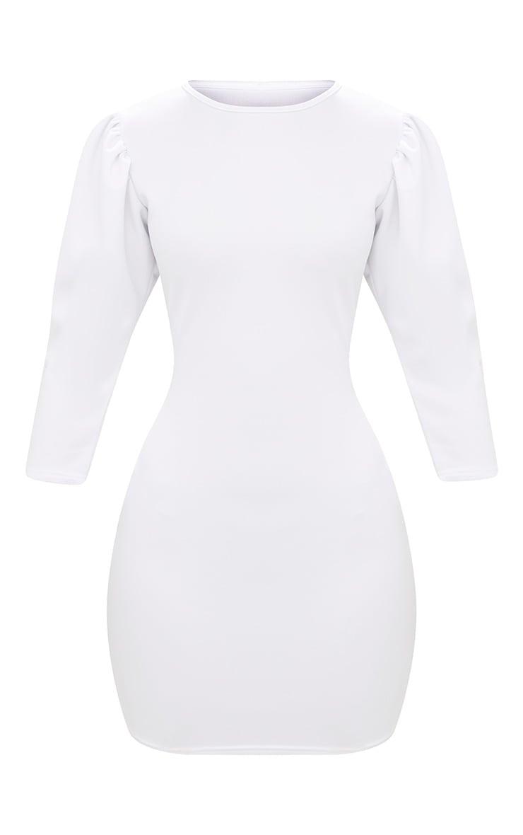 White Puff Detail 3/4 Sleeve Bodycon Dress 3