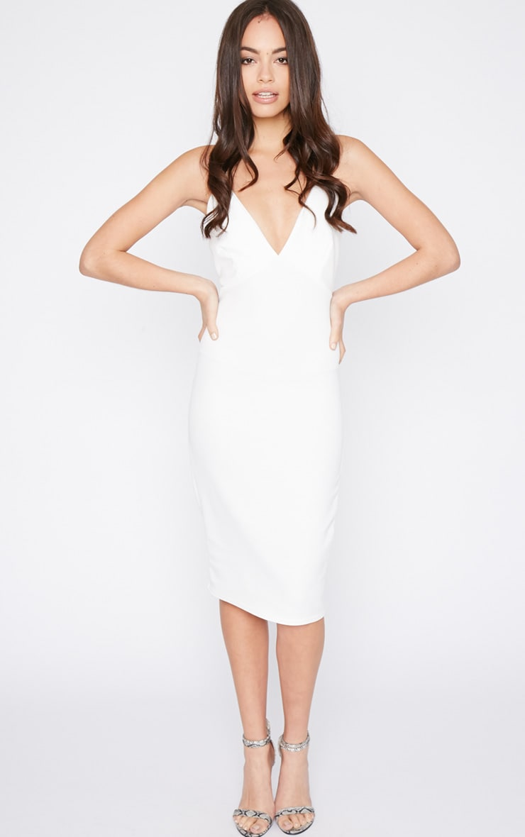 Britt White Cross Back Plunge Midi Dress 3
