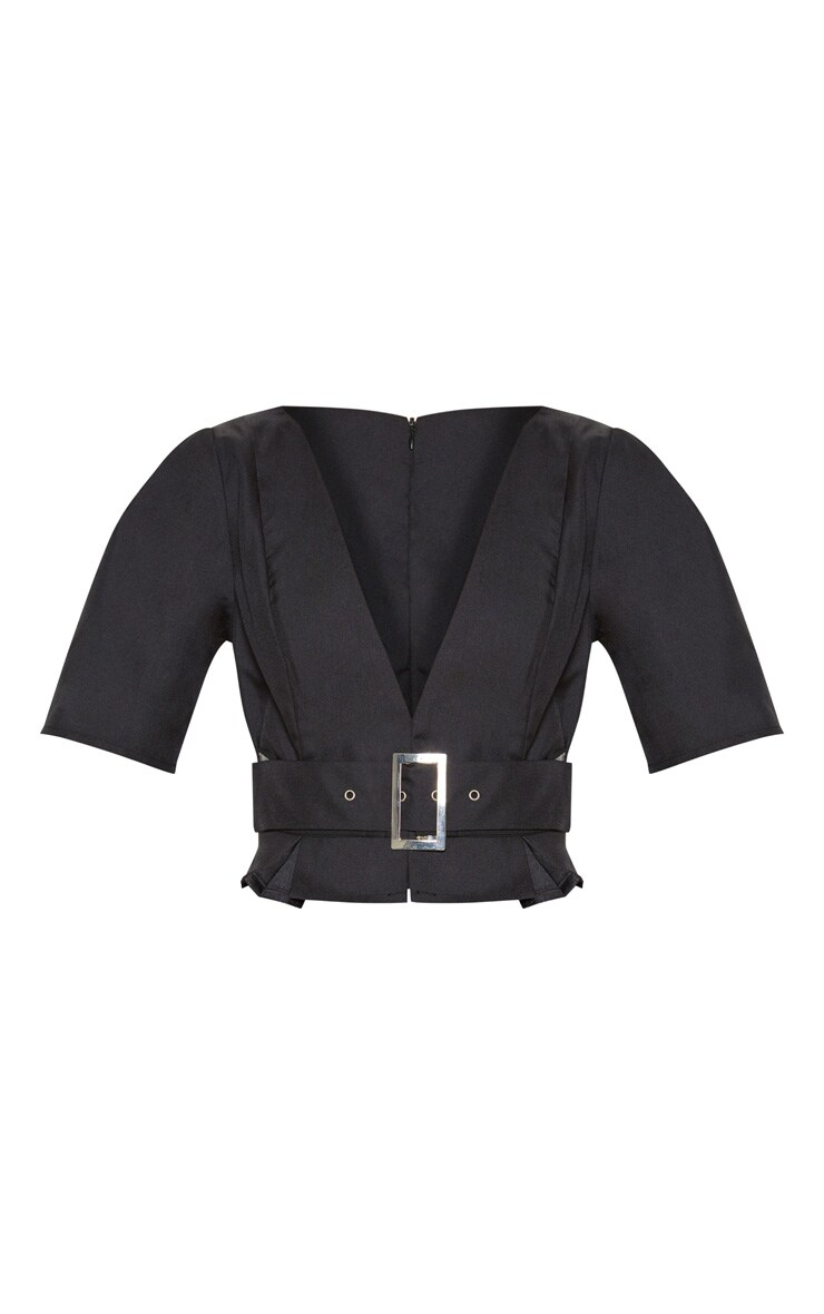 Petite Black V Neck Belt Detail Blouse 3