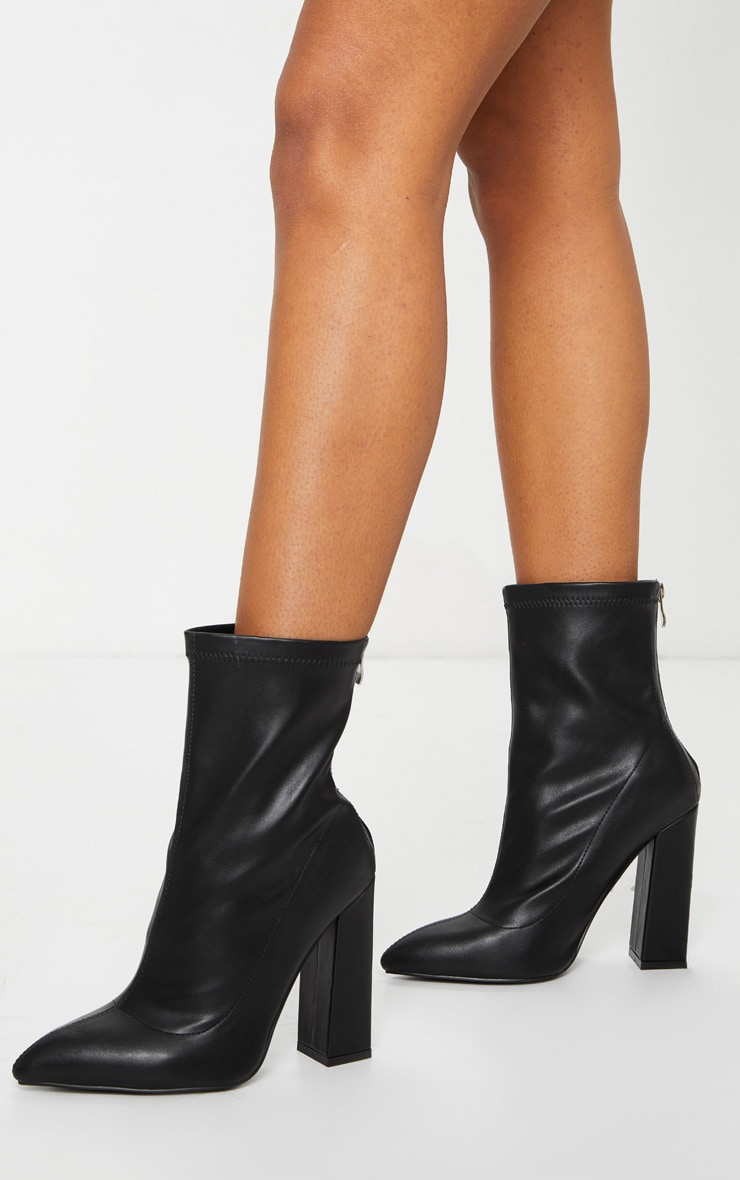 Black Wide Fit High Point Block Heel Ankle Boots 1