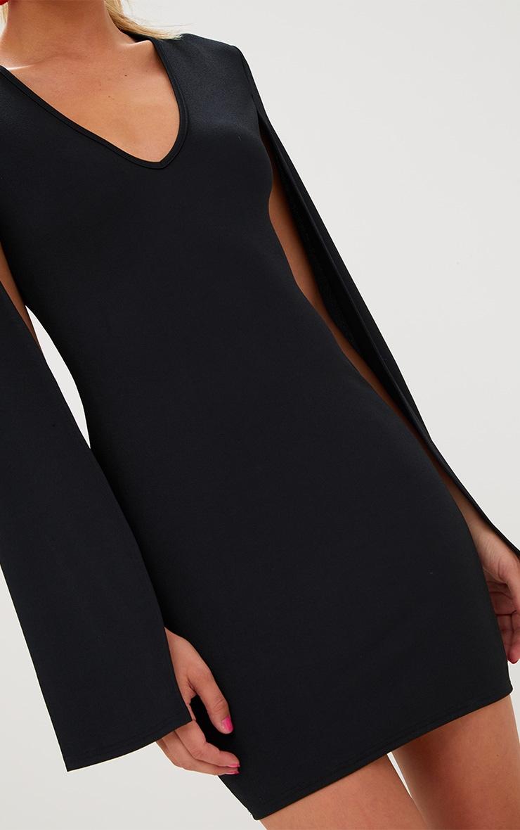 Black Split Arm Bodycon Dress 5