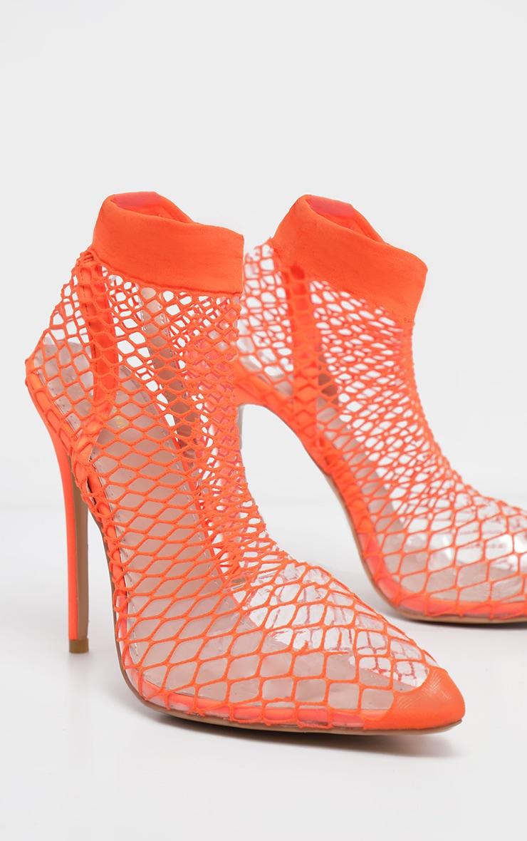 Orange Fishnet Slingback Pointed Toe Heels 3