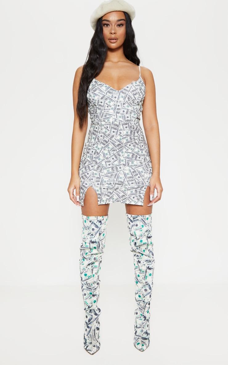Cream Dollar Print Panelled Double Split Bodycon Dress 4