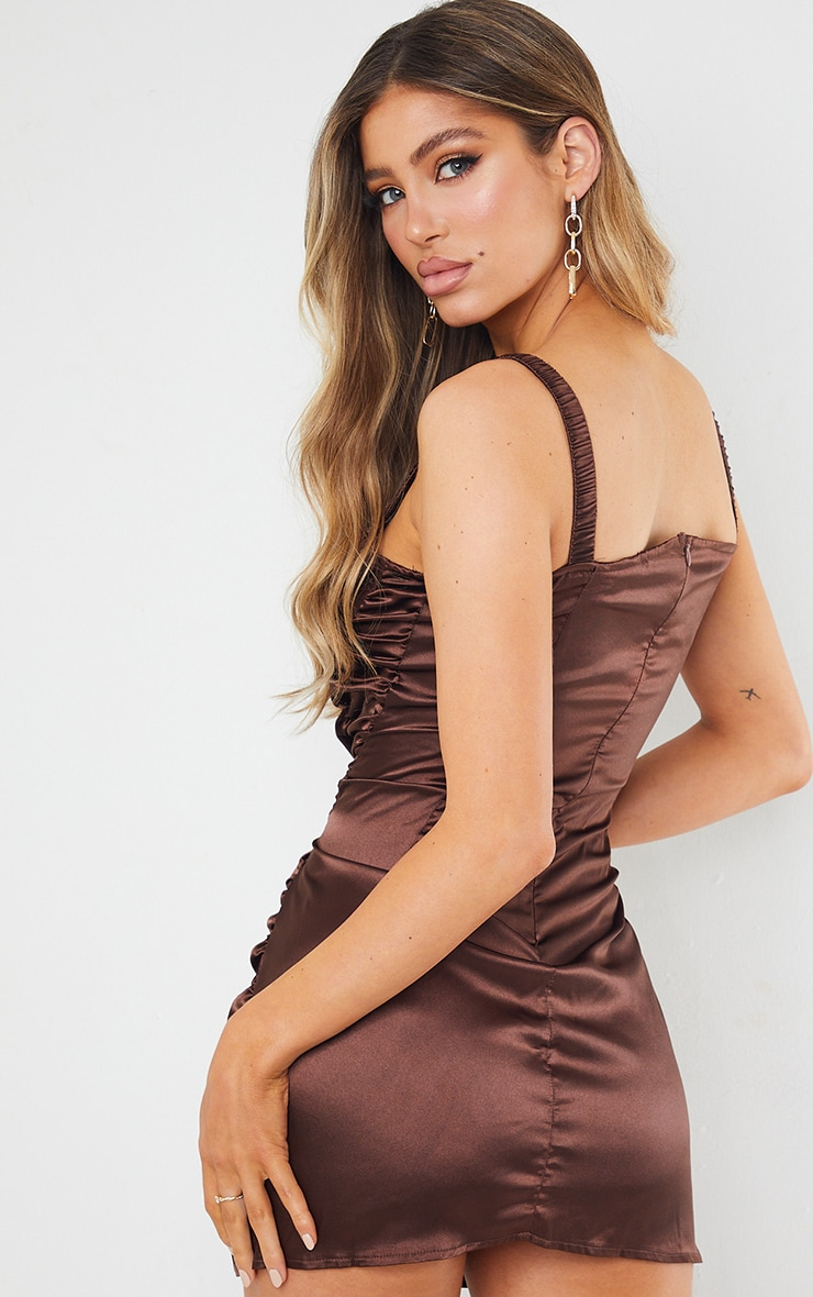 Chocolate Satin Ruched Cup Detail Elastic Strap Bodycon Dress 2