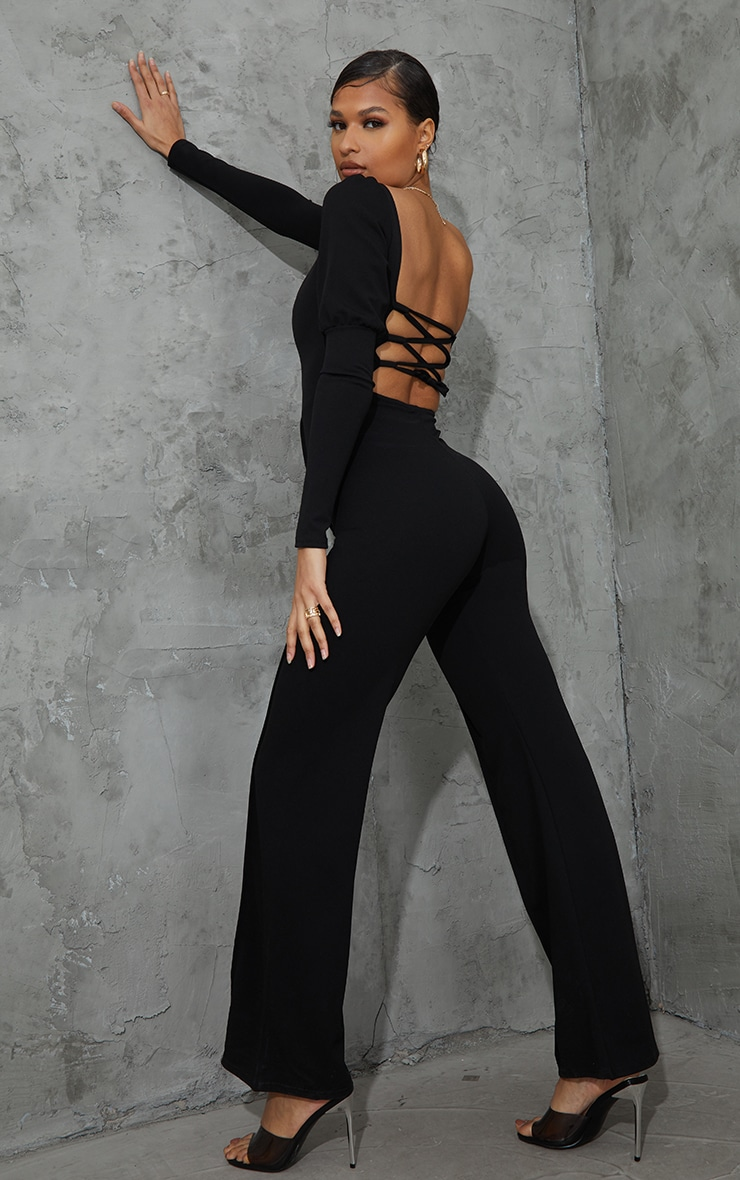 Black Lace Up Back Puff Sleeve Jumpsuit 1