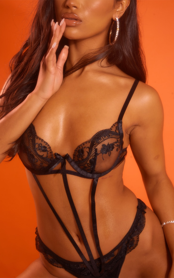 Black Embroidered Lace Underwired Cut Out Strap Bodysuit 4
