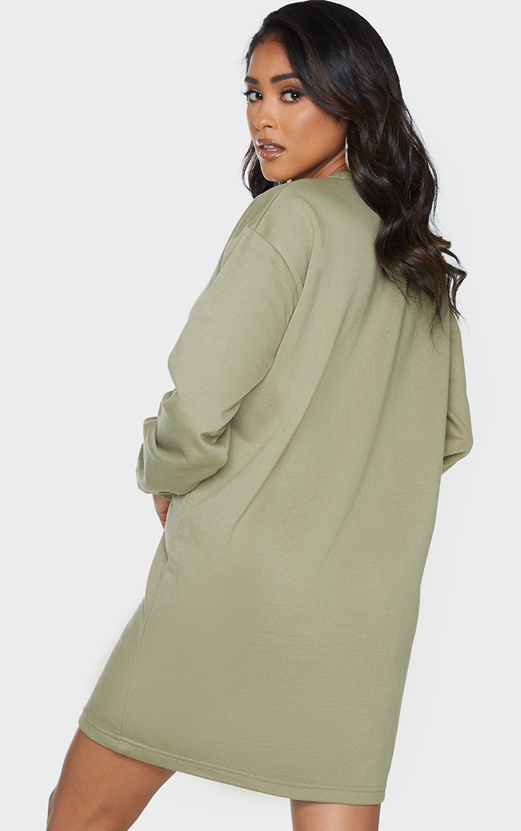 Khaki Basic Crew Neck Oversized Sweater Dress 2