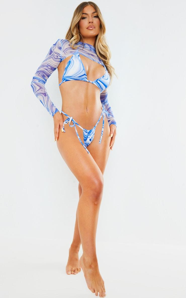 Blue Swirl Tie Side Bikini Bottoms 3