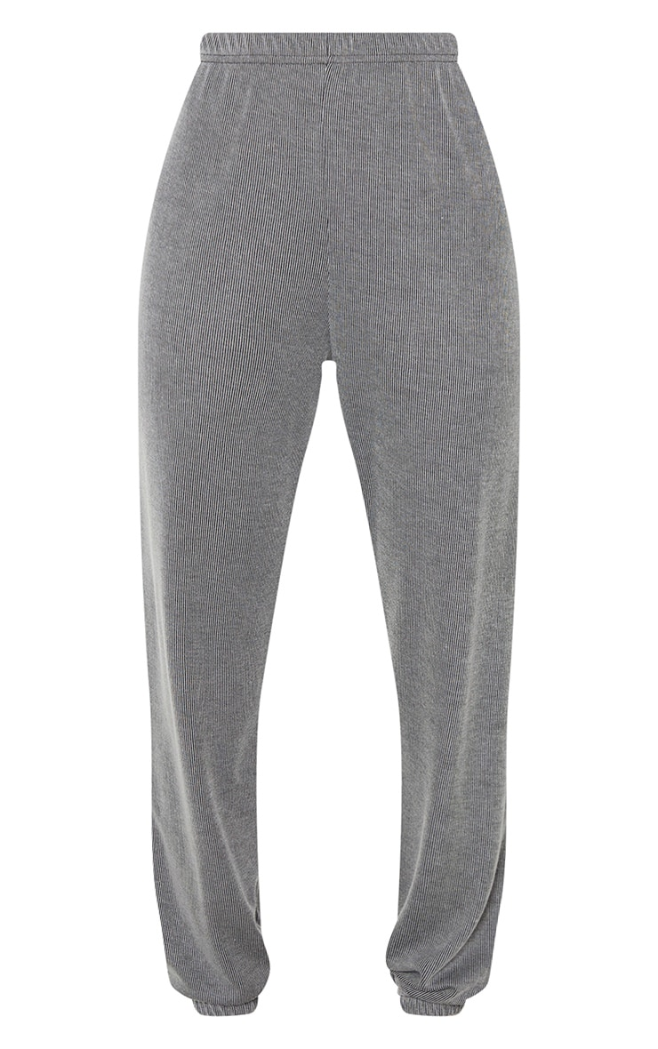 Grey Contrast Ribbed Casual Joggers 6