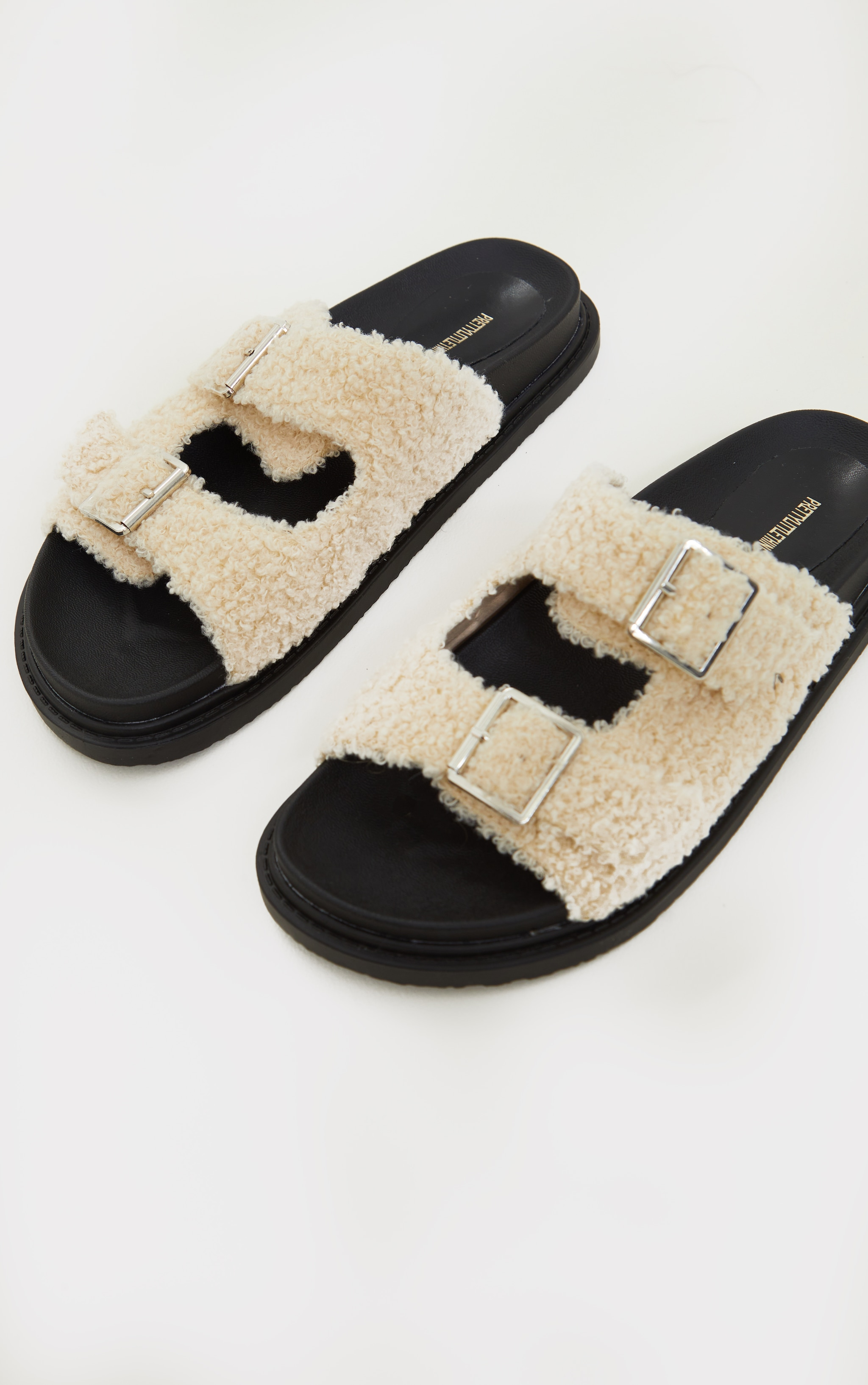 Cream Borg Buckle Footbed Sandals 3