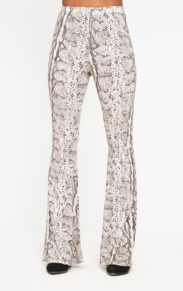 Taupe Snake Print Flared Trousers 2