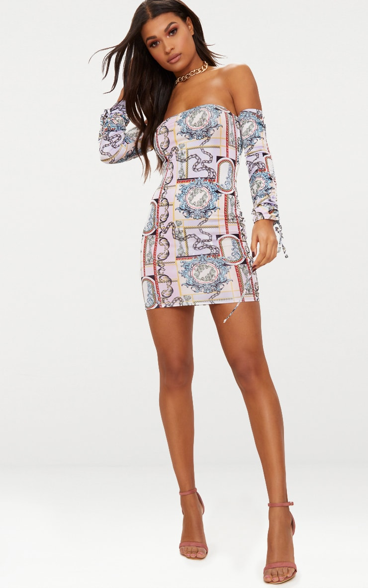 Lilac Slinky Scarf Print Bardot Bodycon Dress 4