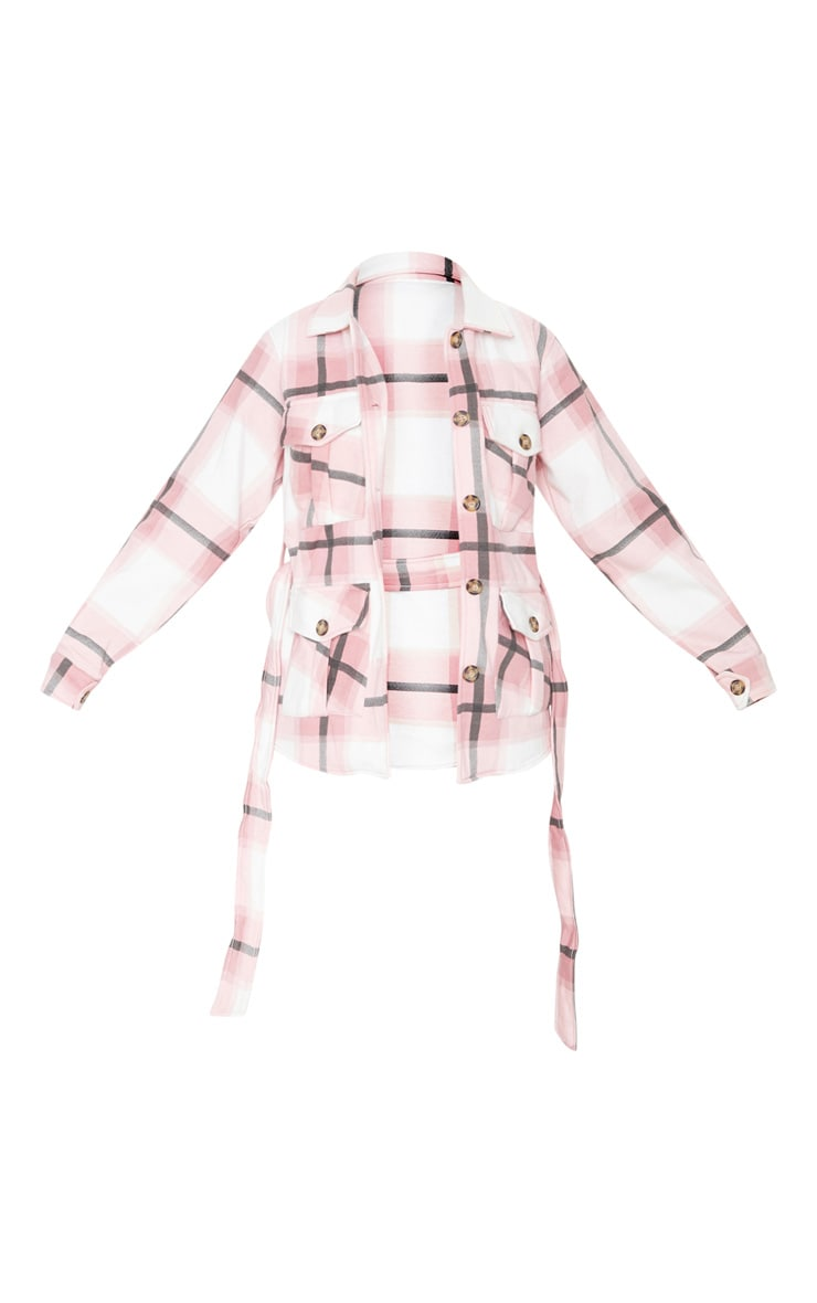 Pink Checked Belted Dipped Hem Shacket 5
