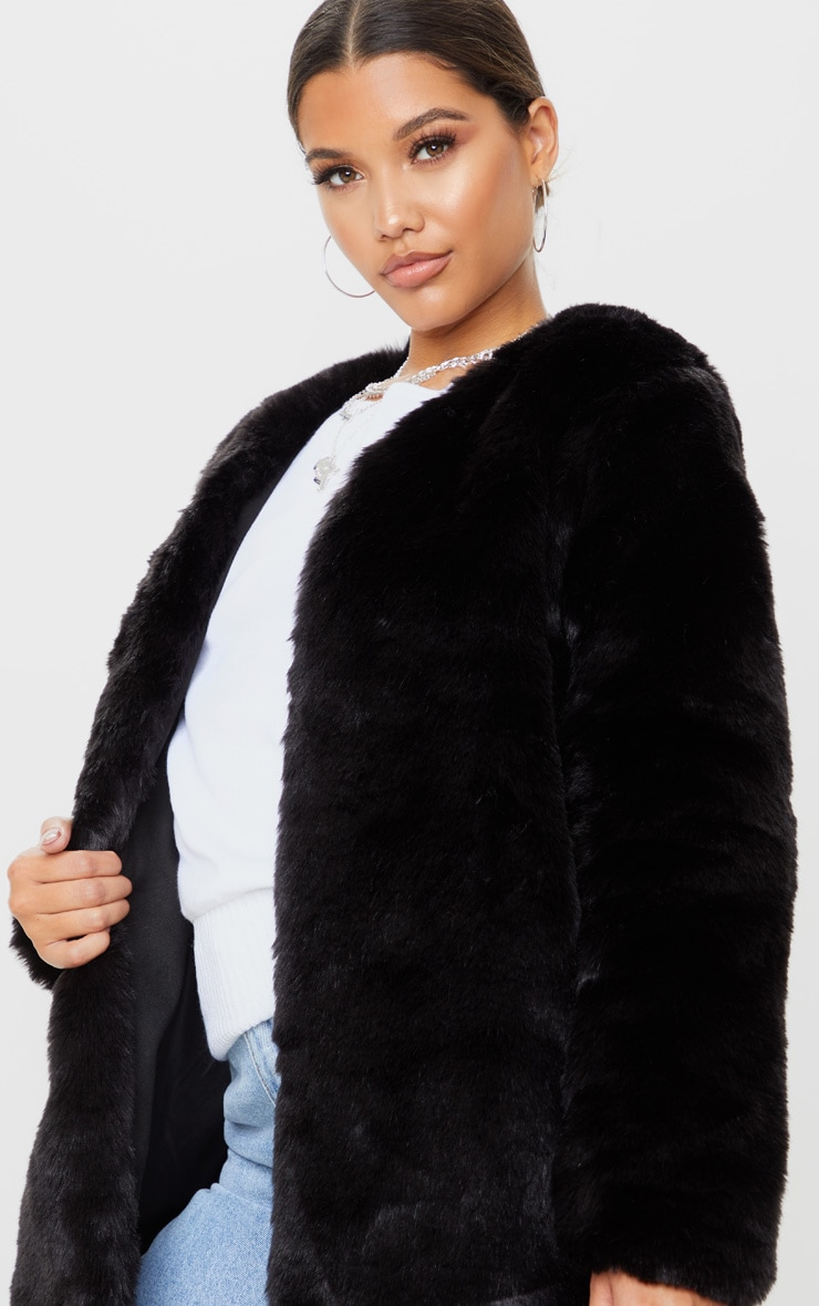Black Faux Fur Coat 5