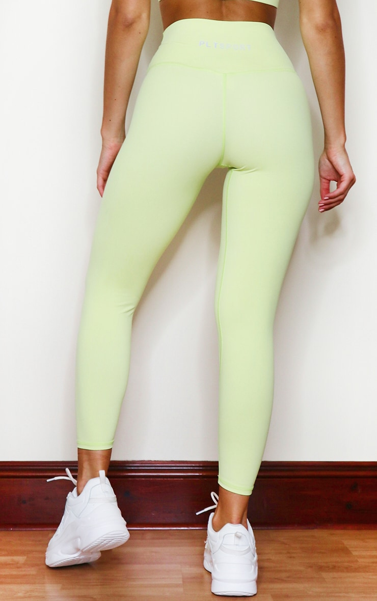 PRETTYLITTLETHING Lime Sports Sculpt Luxe Fabric Cropped Gym Legging 3