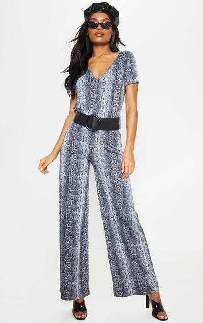 870cdcd0ccc Grey Snake Print Jersey Wide Leg Jumpsuit