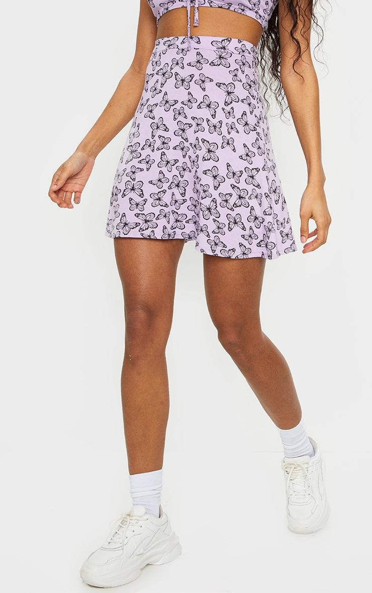 Purple Butterfly Print Floral Skater Skirt 2