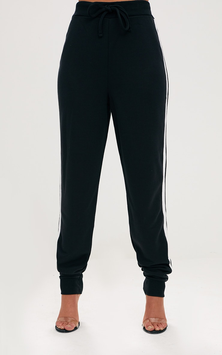 Black Contrast Stripe Joggers  2