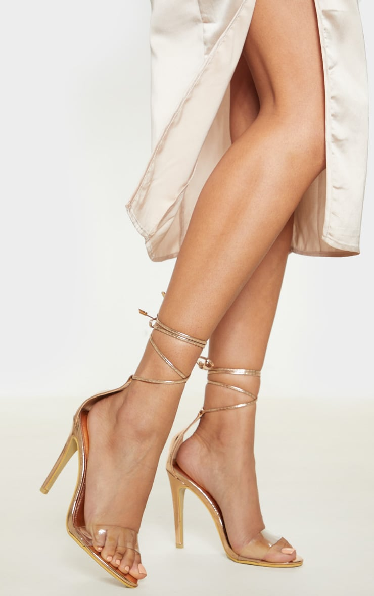 Rose Gold Clear Strap Ankle Tie Heels 1