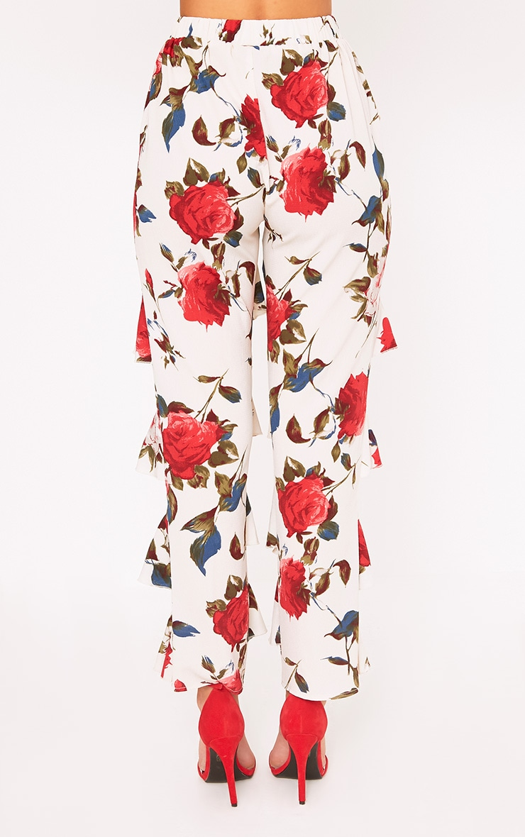Cream Tiered Frill Floral Trousers 4