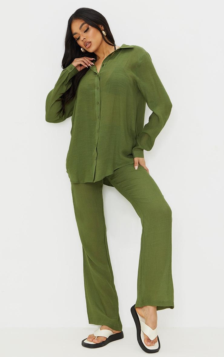 Khaki Linen Look Beach Shirt 3