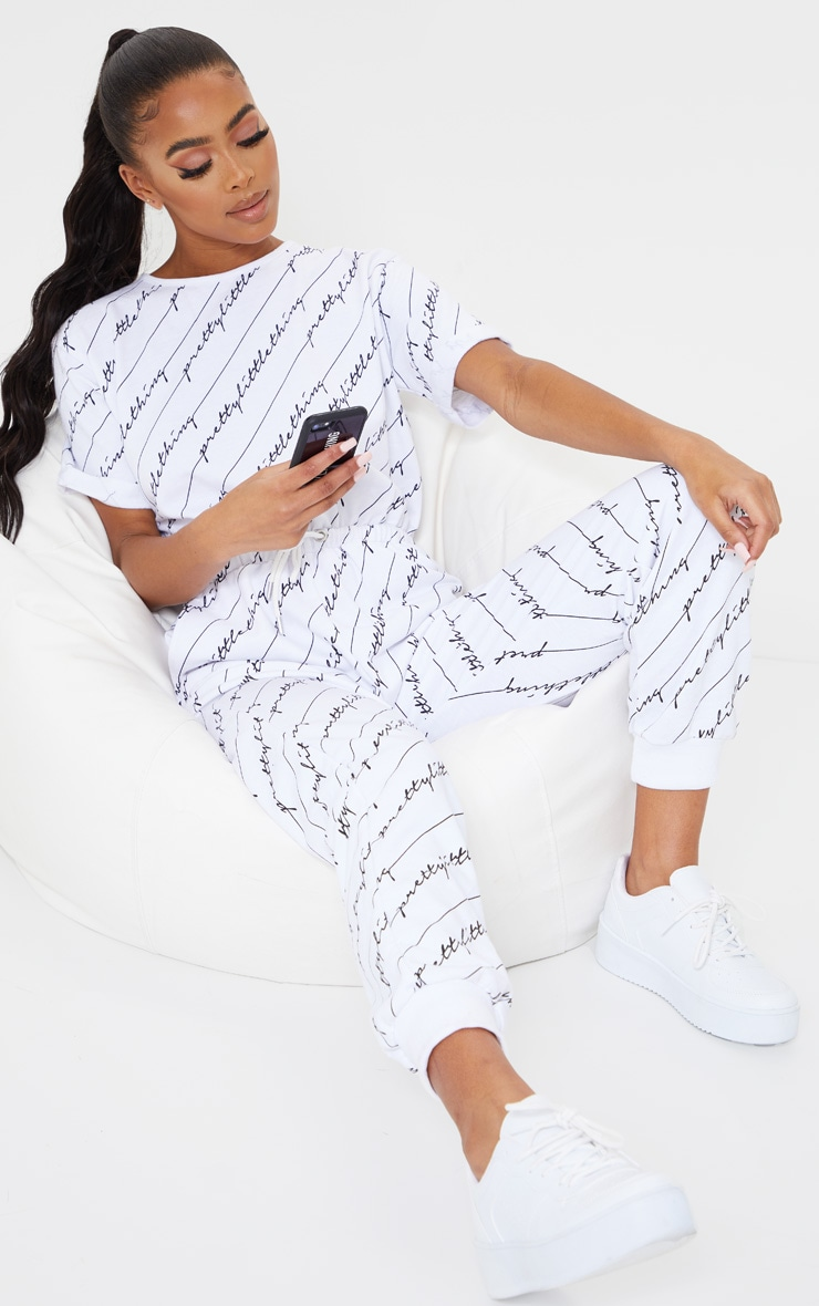 PRETTYLITTLETHING White Short Sleeve Sweat Jumpsuit 1