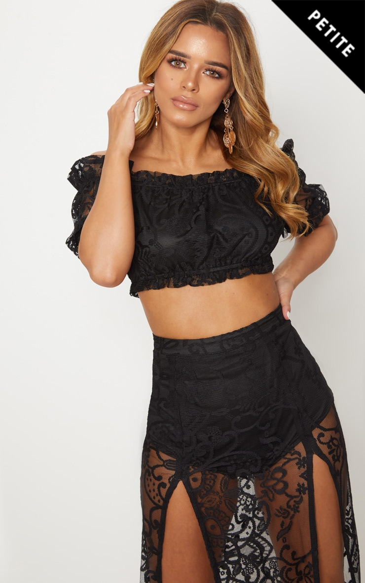 Petite Black Lace Bardot Puff Sleeve Crop Top