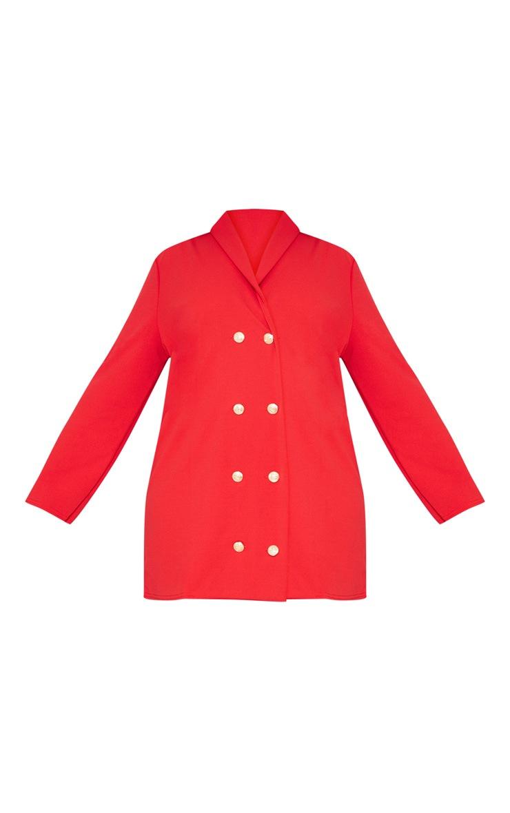 Plus Red Gold Button Oversized Blazer Dress 3