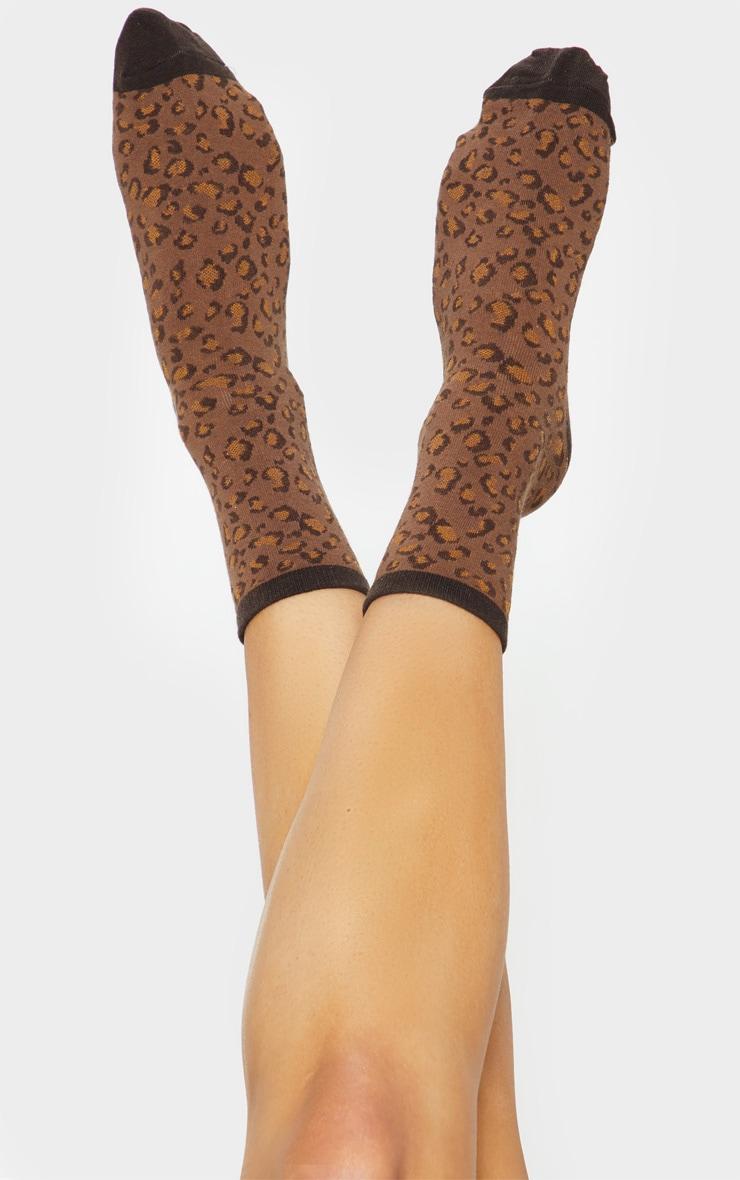 Brown Leopard Print Socks 1