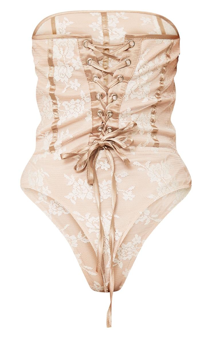 Chriteen Nude Corset Back Lace Thong Bodysuit 4