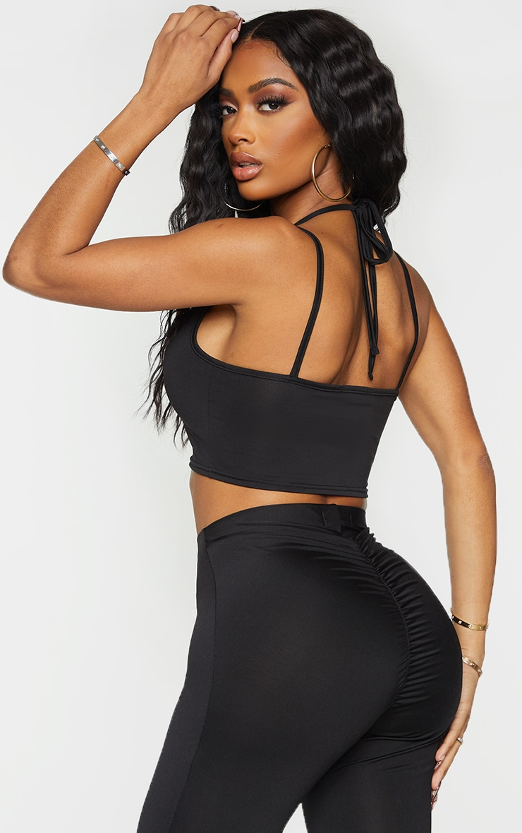Shape Black Slinky Strap Detail Halterneck Crop Top 2