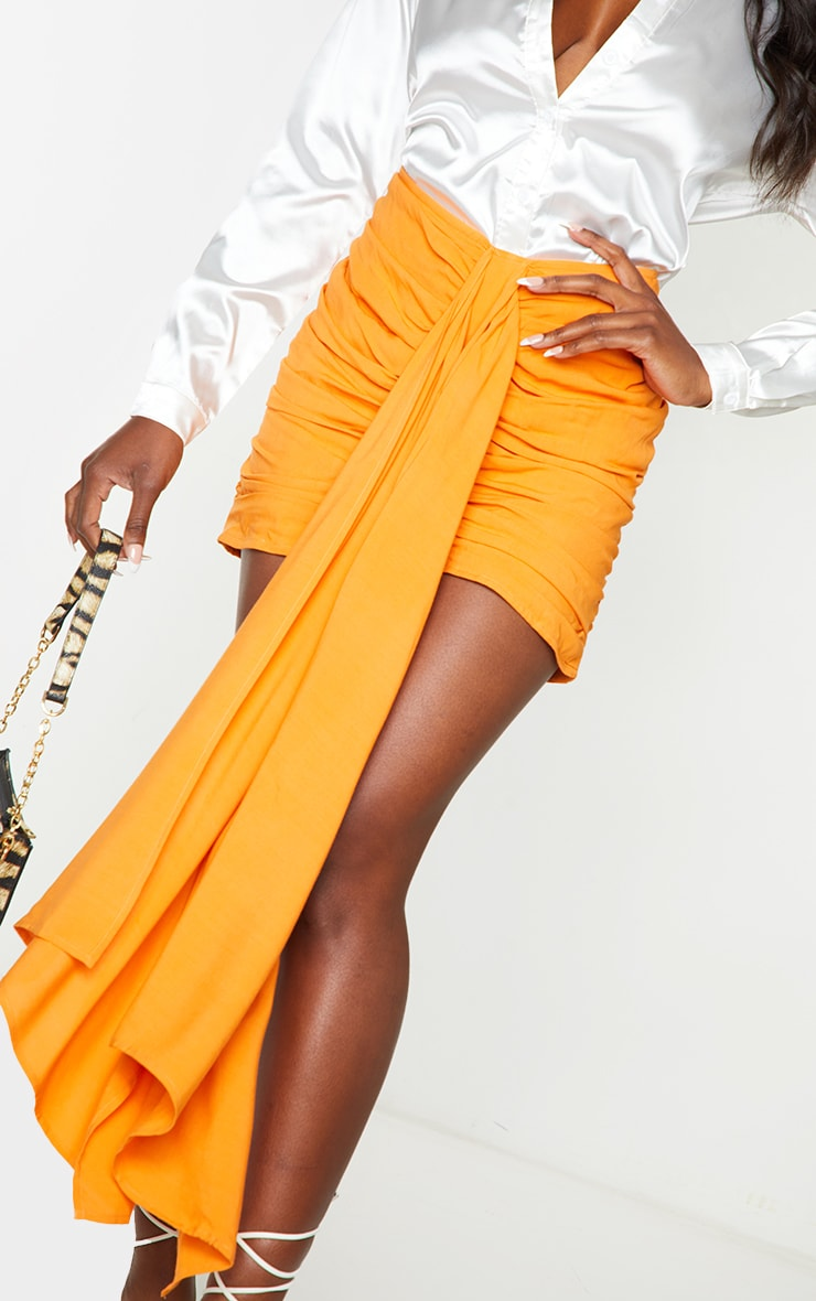 Orange Ruched Drape Front Mini Skirt 5