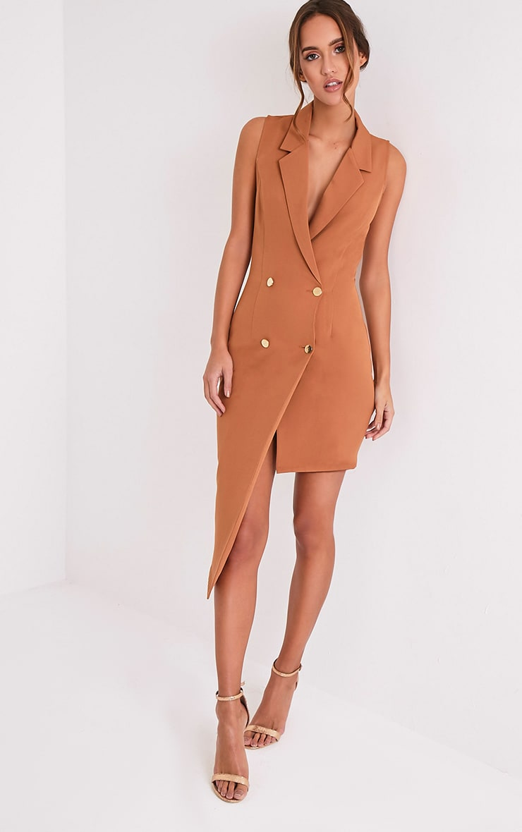 Samanthia Camel Asymmetric Blazer Dress 1