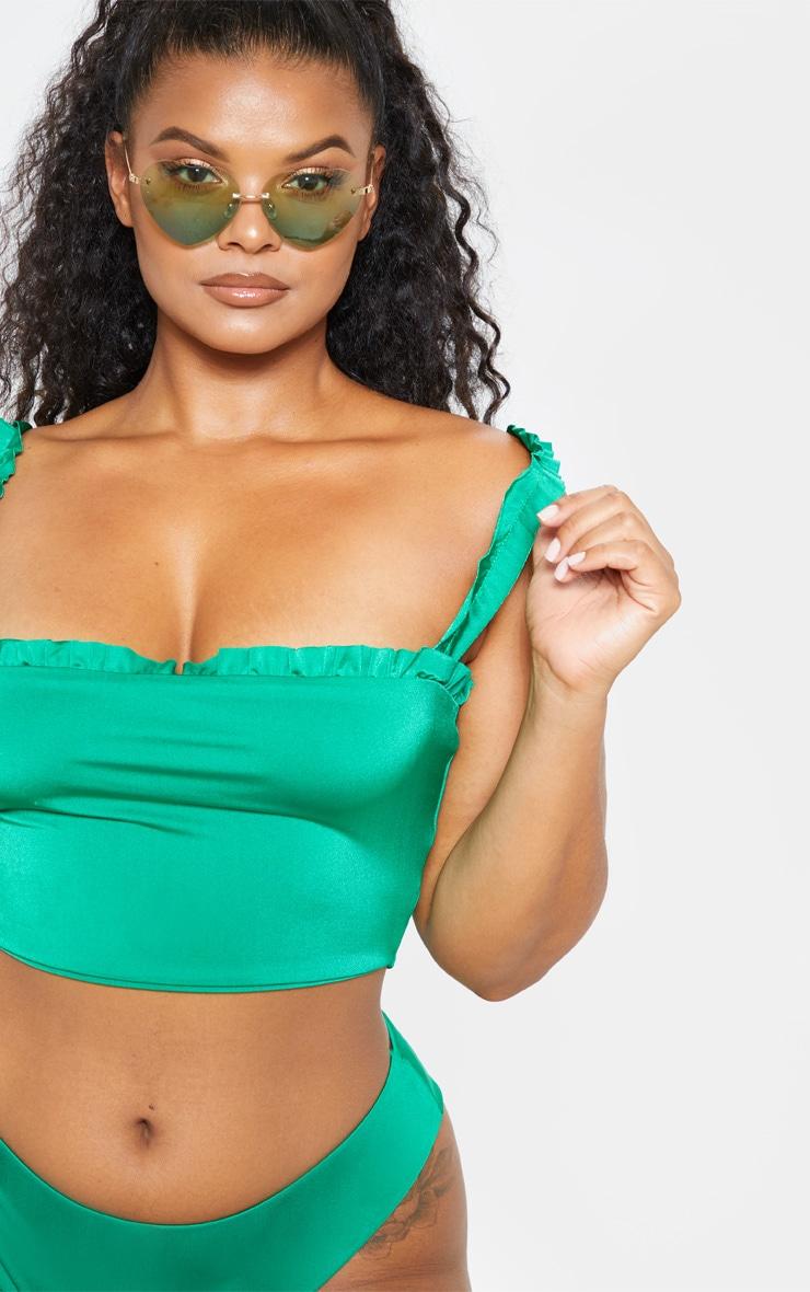 Plus Bright Green Frill Strap Ruched Detail Bikini Top  5