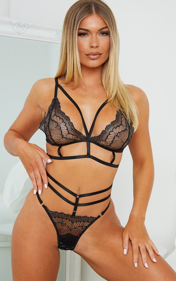 Black Triangle Strappy Metallic Lace Lingerie Set 1