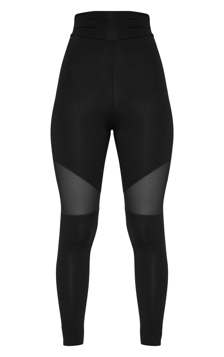 Black Mesh Panel Jersey Legging  3